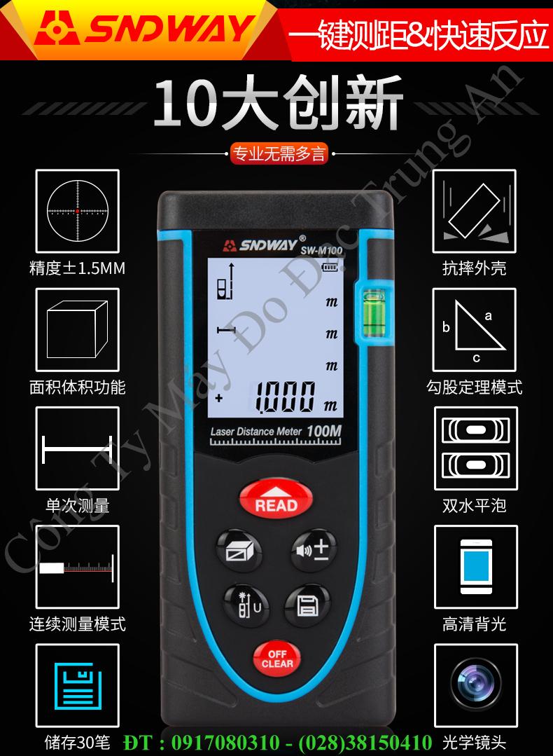 Thước laser đo khoảng cách giá rẻ Sndway SW-M100