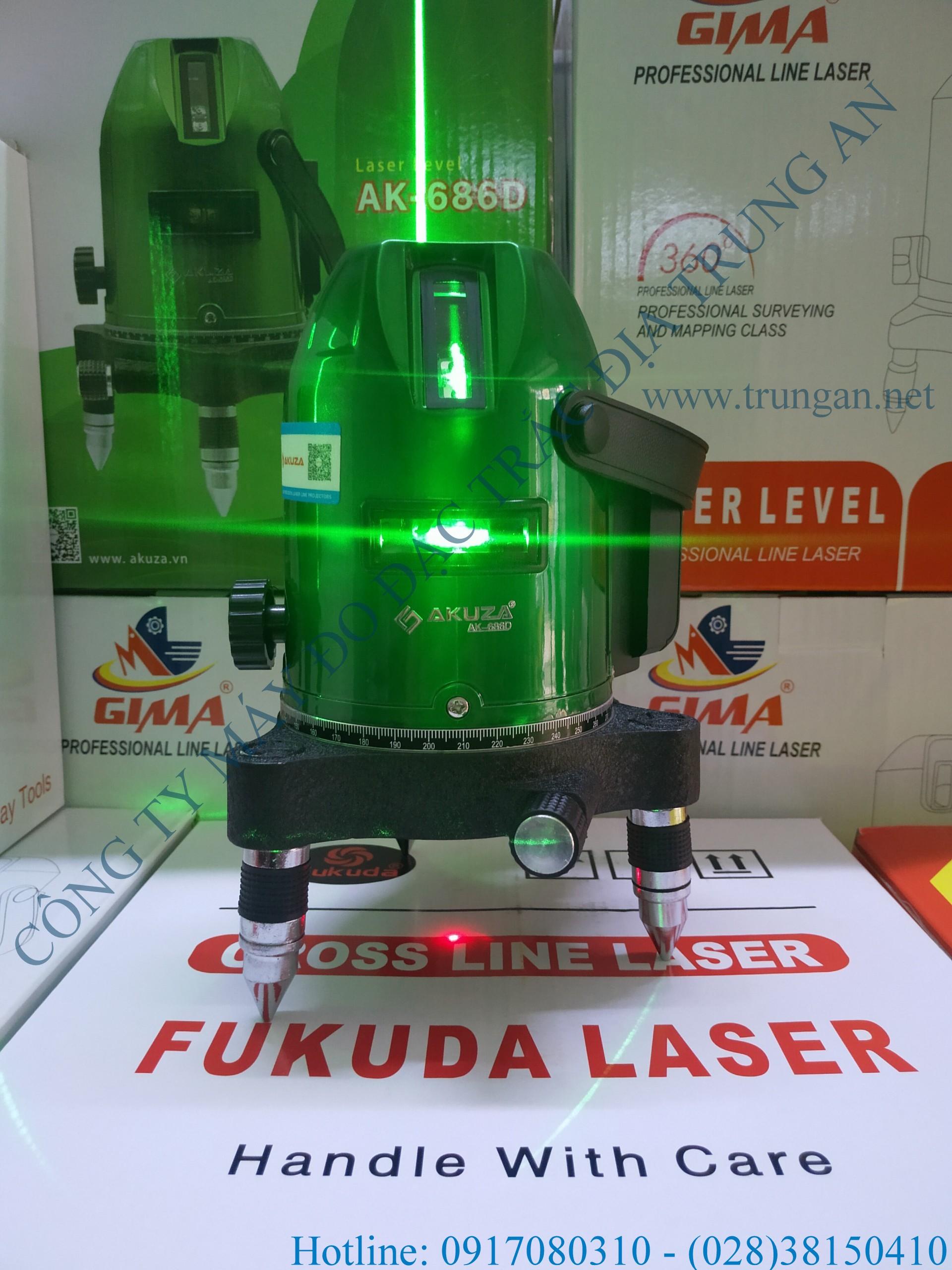 Máy cân bằng tia laser 5 tia xanh Akuza AK-686D